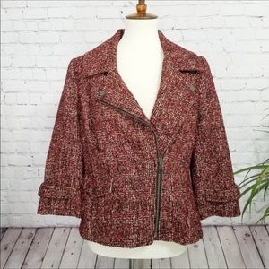 NORDSTROM Collection maroon tweed moto jacket